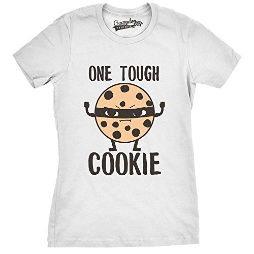 Crazy Dog Tshirts - Womens Tough Cookie Funny Fitness Food Tshirt for Ladies (White) - 3XL - Damen - 3XL Wmns Sweet