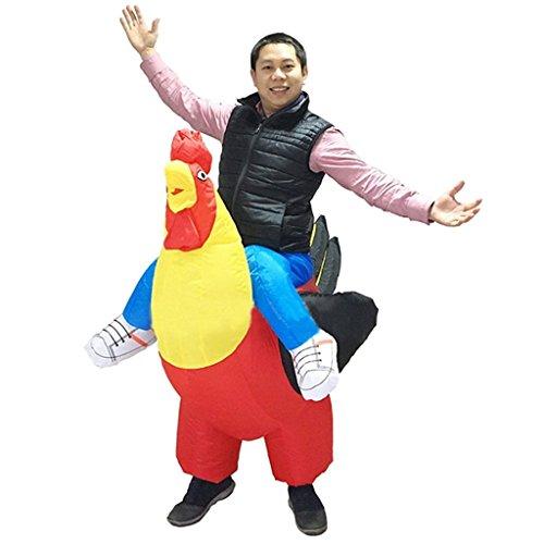 Hahn, Huhn Suit Cosplay Erwachsene für Fasching Karneval Einheitsgröße (Schwanz Smoking)