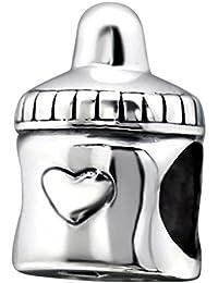So Chic Joyas - Abalorio Charm Botella Corazón biberón - Compatible con Pandora, Trollbeads, Chamilia, Biagi - Plata 925