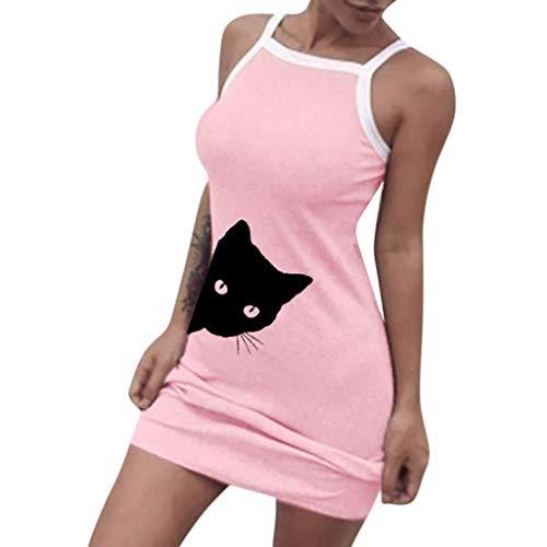 Vestidos para Mujer,Moda Sexy Vestido Elegante Slim Fit Verano Casual Vestidos Cortos Estampado de Gato Fiesta Vestidos Vestido de Noche vpass