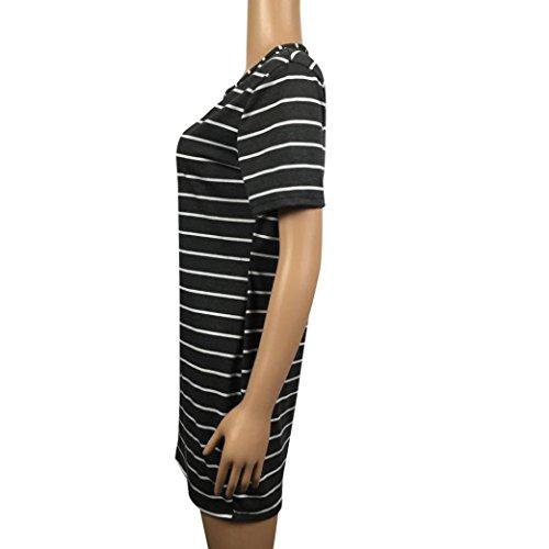 robe femme, Transer ® Vêtements femme rayé à manches courtes T-Shirt lâche robe Noir
