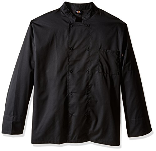 Dickies Chef Men's Unisex Cool Breeze Long-Sleeve Coat, Black, 4X-Large -