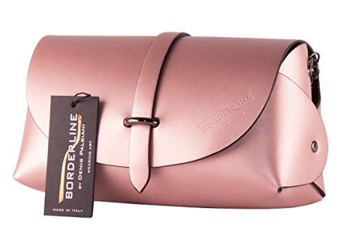 BORDERLINE - 100% Made in Italy - Echtes Leder Clutch - EVELINA G. Alte Rose
