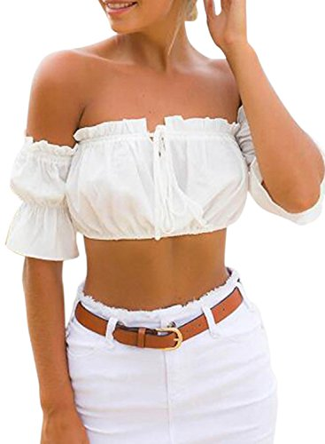 ACHICGIRL Women's off Shoulder Short Sleeve Ruffle Crop Top white
