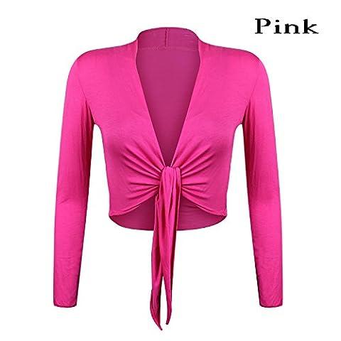 Schöne, elegante Bolero Jäckchen Langarm Einheitsgröße in neun Trendfarben BL0001 (Pink)