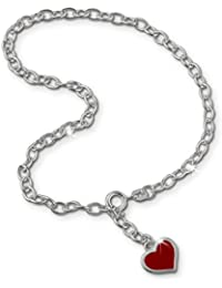 SilberDream Fußkette Herz rot 925 Sterling Silber 25cm Fußkettchen SDF006
