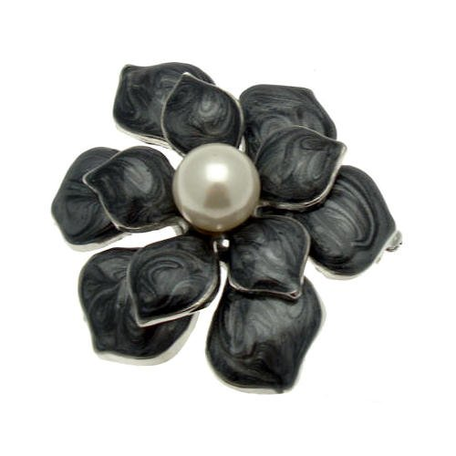 Acosta Brosche Emaille & Perle Blume Corsage Brosche (Silber Ton)-in Geschenkverpackung (Kostüm Schmuck Broschen Uk)