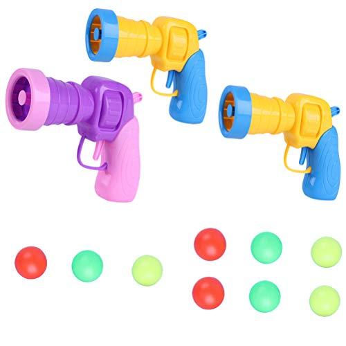 Toyvian 3 Stücke Ping Pong Schießen Spielzeug für Baby Kinder Party Lustige Spielzeug (zufällige Farbe)