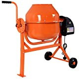 COSTWAY Concrete Mixer, 63L Electric Portable Cement, Mortar, Plaster Mixer with 2 Movable