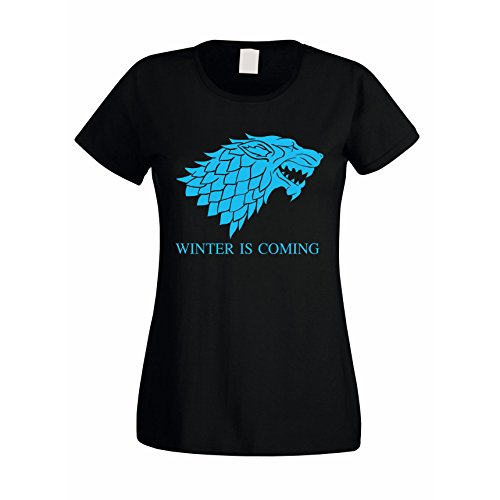 Damen T-Shirt Game of Thrones Winter is coming Schattenwolf Wolf Schwarz-Gold