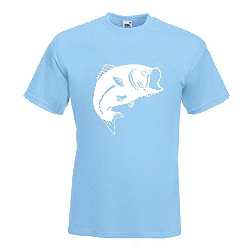 KIWISTAR - Fisch Lachs Karpfen T-Shirt in 15 verschiedenen Farben - Herren Funshirt bedruckt Design Sprüche Spruch Motive Oberteil Baumwolle Print Größe S M L XL XXL Himmelblau