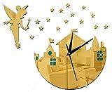 CHEZMAX DIY Wand Uhr Wandaufkleber Wandbilder Aufkleber 3d-Tapete Dekoration für Zuhause, plastik, Muster 1, Gold