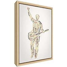 Feel Good Art elegante y moderno, sólido Fronted y Natural enmarcado pared lienzo en Quirky cuadro macho guitarrista design-autumnal tonos, 34x 24x 3cm (pequeño), madera, multicolor, 34x 24x 3cm