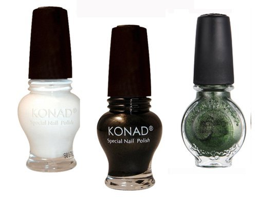Konad Stamping Nail Art Special 3 Polish (12) Black,White,Moss Green