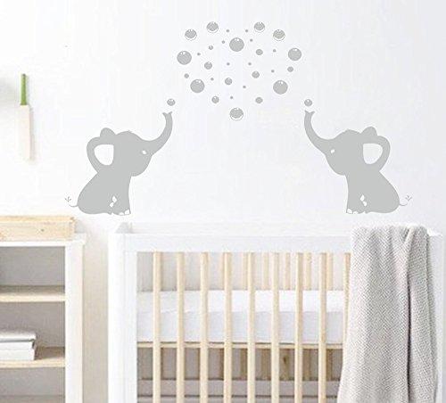 BDECOLL Elefant Bubbles Wandbild Aufkleber Kinderzimmer Decor/ Vinyl, Motiv: Elefant Aufkleber/Sticker, ablösbar, für Kinderzimmer