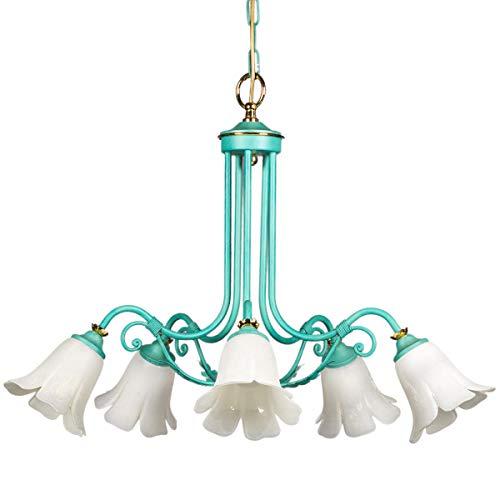 Jugendstil Eisen Floral (Helios Leuchten 254033 große Florentiner Pendelleuchte grün | florale Lampe Leuchte Hängelampe Jugendstil | 5 x E14)