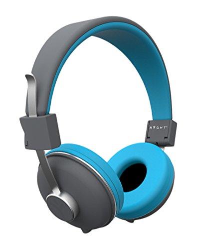 RYGHT ALVEO - R481146- Casque audio filaire avec arceau très léger pliable et ajustable - doubleur jack intégré 3,5mm avec fonction kit main libres et fil en nylon ultra résistant - compatible avec votre Smartphone/tablette/Ipad/lecteur MP3/MP4-  Bleu /Gris