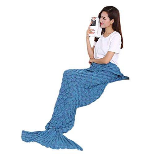 Vlunt Mermaid motifs couverture de tricot blanket style adulte couverture de queue de sirène Light Blue