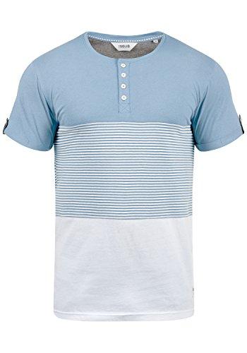 !Solid Marek Herren T-Shirt Kurzarm Shirt Streifenshirt Mit Streifen Und Grendad-Ausschnit, Größe:XL, Farbe:Sky Blue (1025) -
