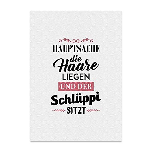 Kunstdruck, Poster mit Spruch - Hauptsache, DIE Haare LIEGEN - Typografie-Bild - Plakat, Druck, Print Wandbild -
