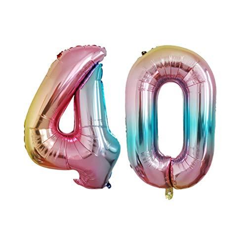 Amosfun 2pcs Nombre 40 Ballons Feuille hélium numéro Ballon Anniversaire de Mariage Anniversaire décorations de fête 32 Pouces