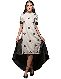 VANILLA PATCHED DRESS , Material- Heavy Georgette, Color- Black & White.