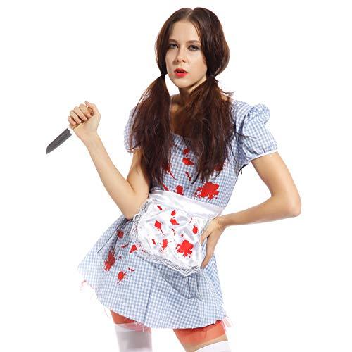 Anladia Halloween Zombie Lolita Kleid Horror blutige Puppe (Lustige 80's Paare Kostüme)