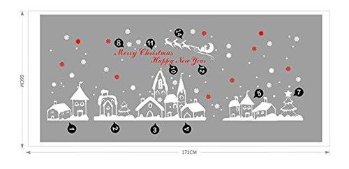 Theshy Weihnachtssticker Weihnachtsdeko Deko Abziehbild Wandaufkleber Wandtattoo Wandsticker Weihnachtsmann Weihnachts Schaufenster Dekoration Weihnachten Schneeflocken Stadt