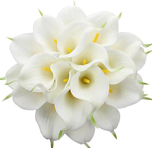 Justoyou Künstliche Blumen. 20Stück, Latex, realistische Calla-Lilien für Hochzeit, Zuhause, Hotel, Garten, Dekoration, Textil, White With Yellow Core, 20 Stück