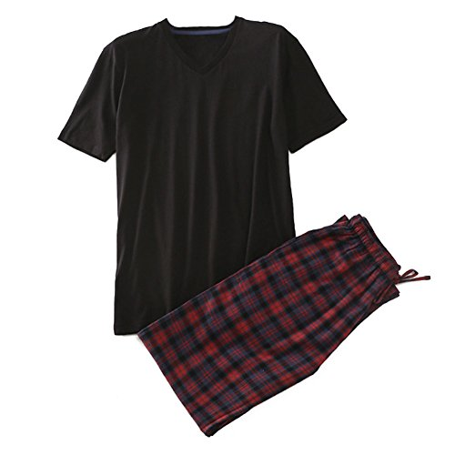 Juqilu Männer Pyjamas 2 Stück Set Baumwolle Plaid Kurzarm Top & Long Bottoms Hosen Nachtwäsche Schlafanzug Black M (Bottoms, Schwarz Pyjama)