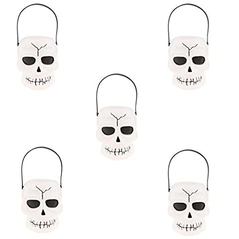 Sharplace 5 x Schädel form Kunststoff Körbe für bonbon /1kg Süßigkeiten mit Handgriffe
