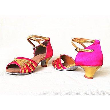 Ruhe @ Damen Girl 's Dance Shoes Latin/Salsa/Samba Satin/paillette 4,5cm Absatz schwarz/blau/rot fuchsia