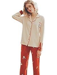 Pijamas Traje de algodón para Mujer Pijamas caseros con Pijamas de Manga Larga Conejo Estampado Animal