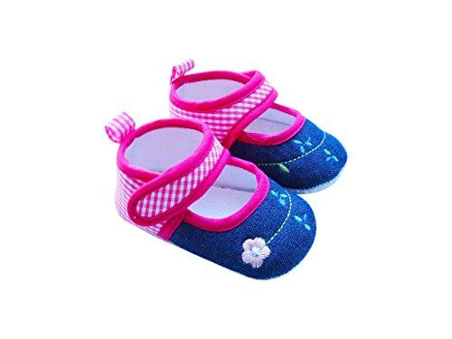 Mabini Babyschuhe - Jeans-Optik mit Stickerei - Klettverschluss Denim, rosa