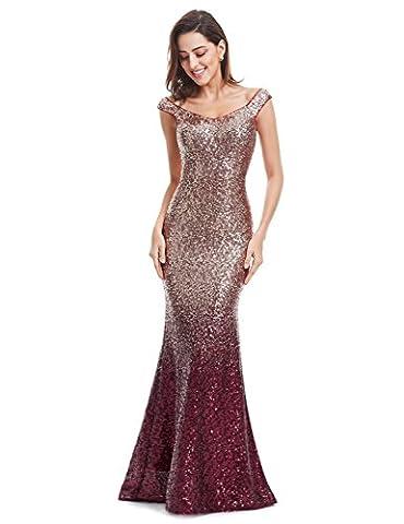 Ever Pretty Women Sparkling Gradual Champagne Gold Sequin Mermaid Cap Sleeves Evening Dress Prom Dress 14UK