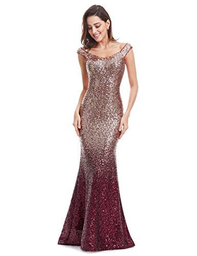 Ever Pretty Women Sparkling Gradual Champagne Gold Sequin Mermaid Cap Sleeves Evening Dress Prom Dress 08999