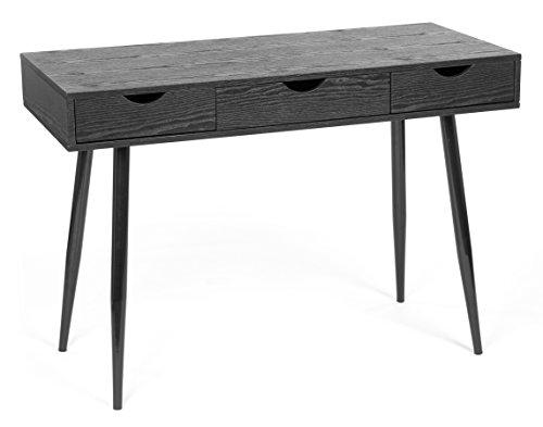 Ts-ideen scrivania office desk console per pc in fibra di legno nero con 3 cassetti