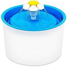 Fypo 1.6L Bebedero Redondo Automático para Mascotas Gatos Perros Flor Fuente de Agua Circular Silencio Dispensador de 3 Modos con Filtro de Carbón Activado Blanco y Azul