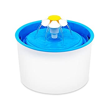 Fypo Fontaine à Fleur pour Chat Automatique Distributeur d'eau Silencieux Nettoyage Eau Fraîche 1.6L Gamelles Bleu