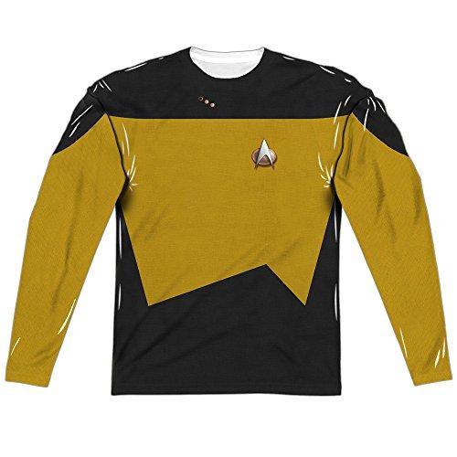 Star Trek Tng Engineering Uniform (Front Back Print) Mens Long Sleeve Sublimation Shirt