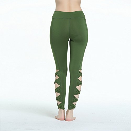 Wenyujh Femmes Leggings Pantalon Sport avec Losange Nu Fashion Pantalon Skinny Mode Yoga Gym Fitness Running Vert