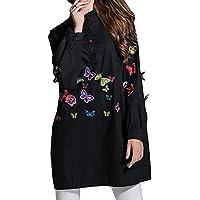 MCC Camicie da donna Stand up maniche lunghe media farfalla ricamo grande vestito collare , black , one size