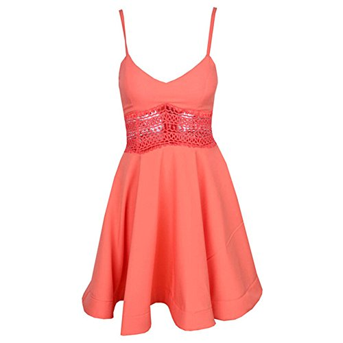 Pinkyee Damen Kleid Orange