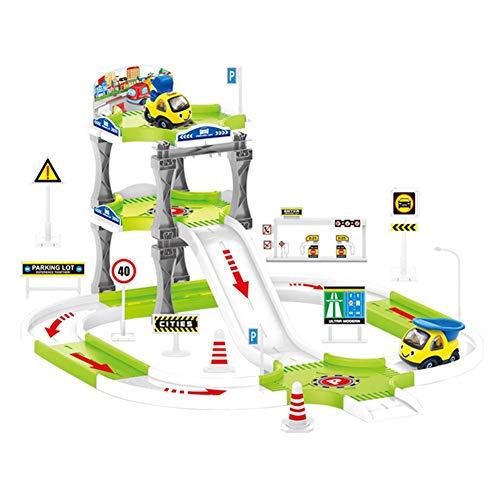Bouder Eisenbahn Kinder - Bahn Spiel Set mit Dreistöckigen Parkmodus, Virtueller Parkplatz, 4 Konstruktionsfahrzeuge, für Kinder Umwelt-ABS