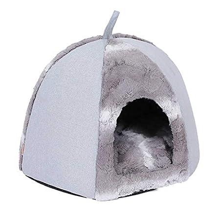 BaojunHT tragbares Katzenhöhle aus Plüsch, warm, halb geschlossen, für Welpen, Kätzchen und kleine Haustiere