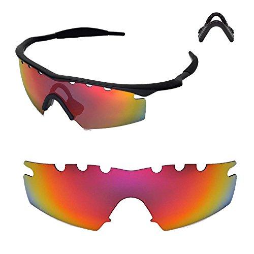Walleva Entlüftete Ersatzlinsen oder Linsen mit schwarzem Nasenpolster für Oakley M Frame Strike Sonnenbrille - 20 Optionen (Feuerrot Polarisierte Linsen + Nasenpolster)