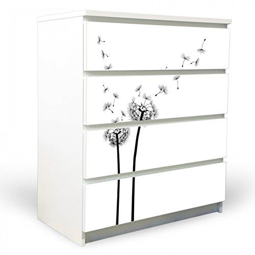 YOURDEA Möbelfolie für Ikea Malm Kommode mit 4 Schubladen / Klebefolie 4-teilig ca. 80x100cm / Möbelsticker selbstklebend mit Motiv Pusteblume 2