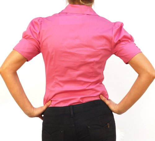 9322 PERANO Damen Bodys Blusen Bodybluse Blusenbody pink