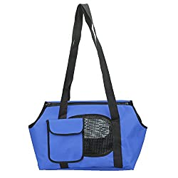 Rrimin Spring Summer Breathable Pet Carriers For Small Dogs Pet Bag Dog Cats Outdoor Portable Oxford Bed Bag (Small, Blue)