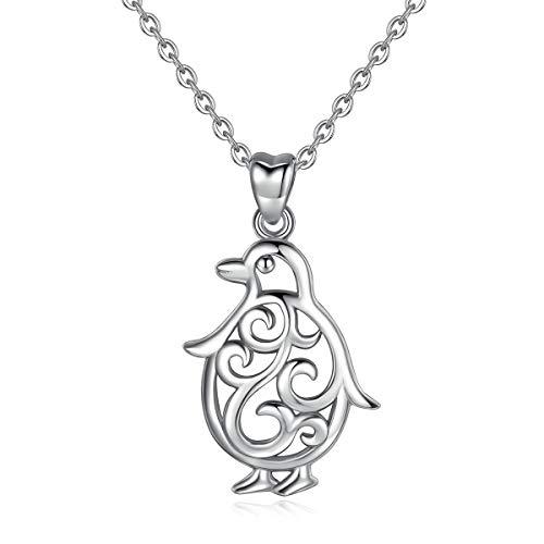 Eudora Harmony Ball 925 Sterling Silber Pinguin Anhänger Halskette für Frauen Mädchen Schmuck Bestes Geschenk für Damen Tochter Liebhaber Schwester, 45,7 cm Kette
